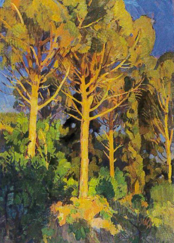 Umberto Moggioli, Pini di sera a Villa Strohl-Fern, 1917